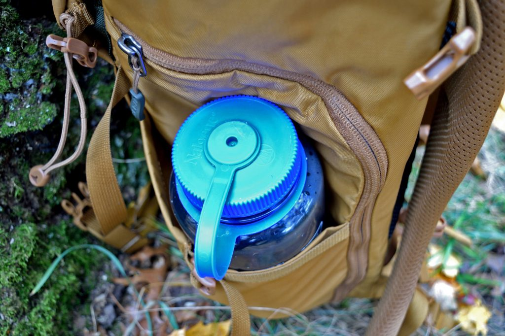 water bottle in rucksack